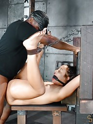 Little spinner belted down and fucked