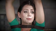 Sarah belted down and throatboarded