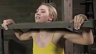 AJ Applegate shackled and blindfolded