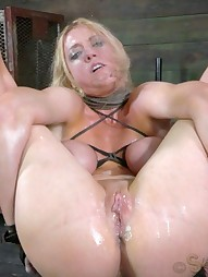 Big titted slut is hung by her ankles, pic #15