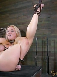 Big titted slut is hung by her ankles, pic #6