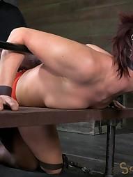 Sexy MILF bound is custom metal bondage, pic #6