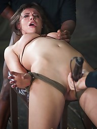 Bound, manhandled, worked over by 2 big dicks, pic #13