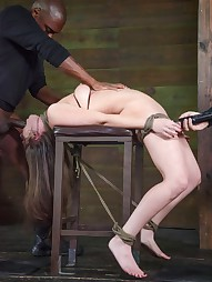 Bound, manhandled, worked over by 2 big dicks, pic #9