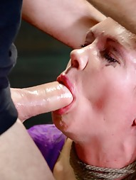 Bound busty blonde does epic deepthroat, pic #8