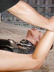Latina bed bound in leather straightjacket, pic #13