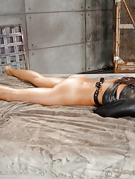 Latina bed bound in leather straightjacket, pic #6