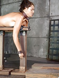 Busty brunette chained and shackled, pic #8